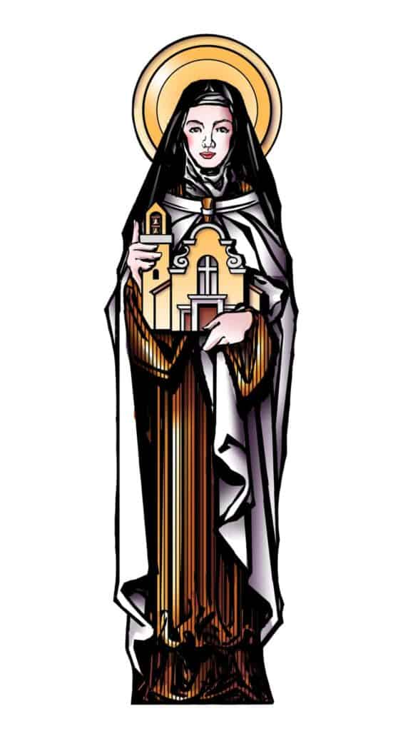 An illustration of St. Thérèse of Lisieux, the patroness and guide of Little Flower Catholic Church and School, depicted holding our parish in protection