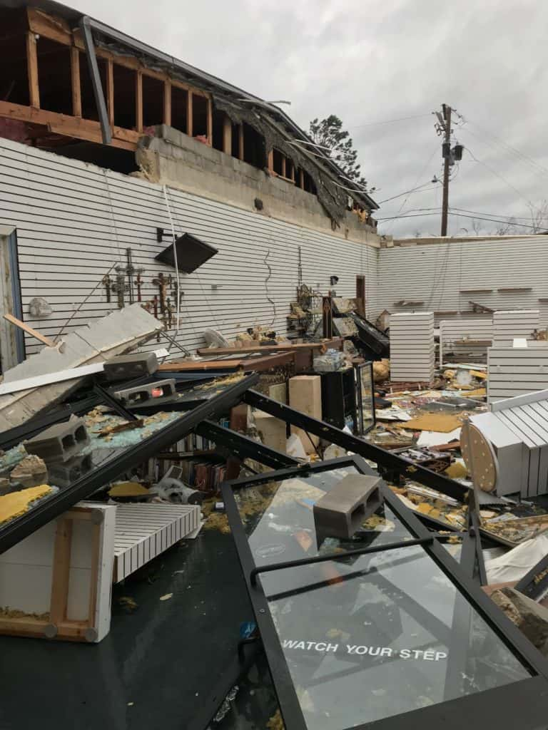 Reception hall damage to St. Dominic Catholic Church in Panama City after Hurricane Michael