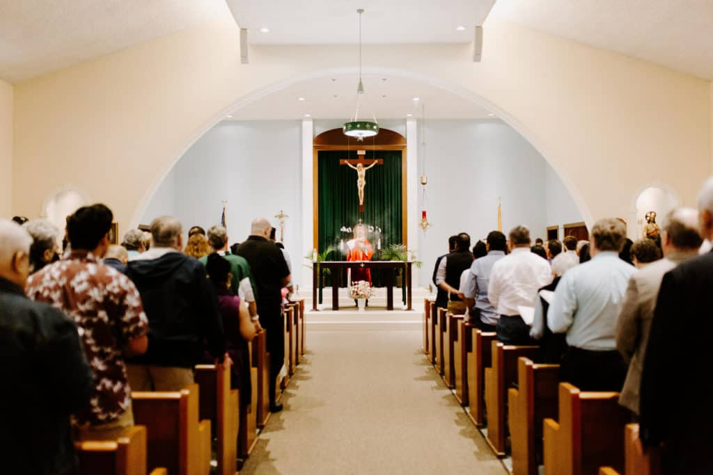 Bishop Bill Wack incenses the altar at the 2019 Confirmation Mass at Little Flower Catholic Church