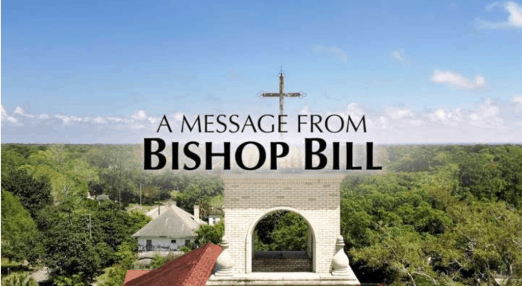 "An aerial view of Sacred Heart Catholic Church shows the words ""A Message from Bishop Bill."""
