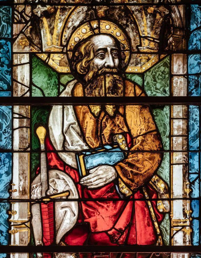 A stained glass window of St. Peter
