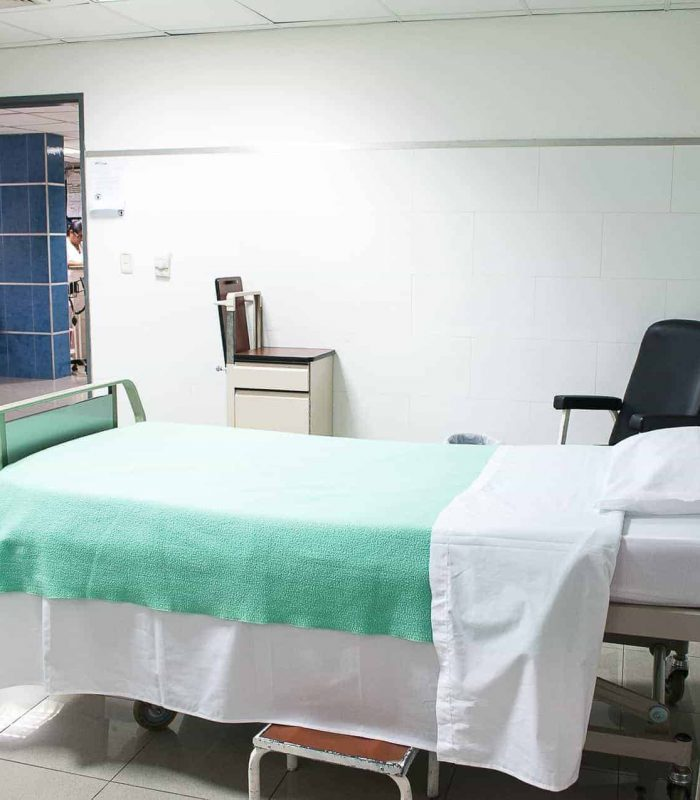 An empty hospital bed